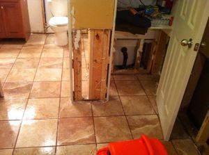 Water Damage East Side From Bathroom Flood